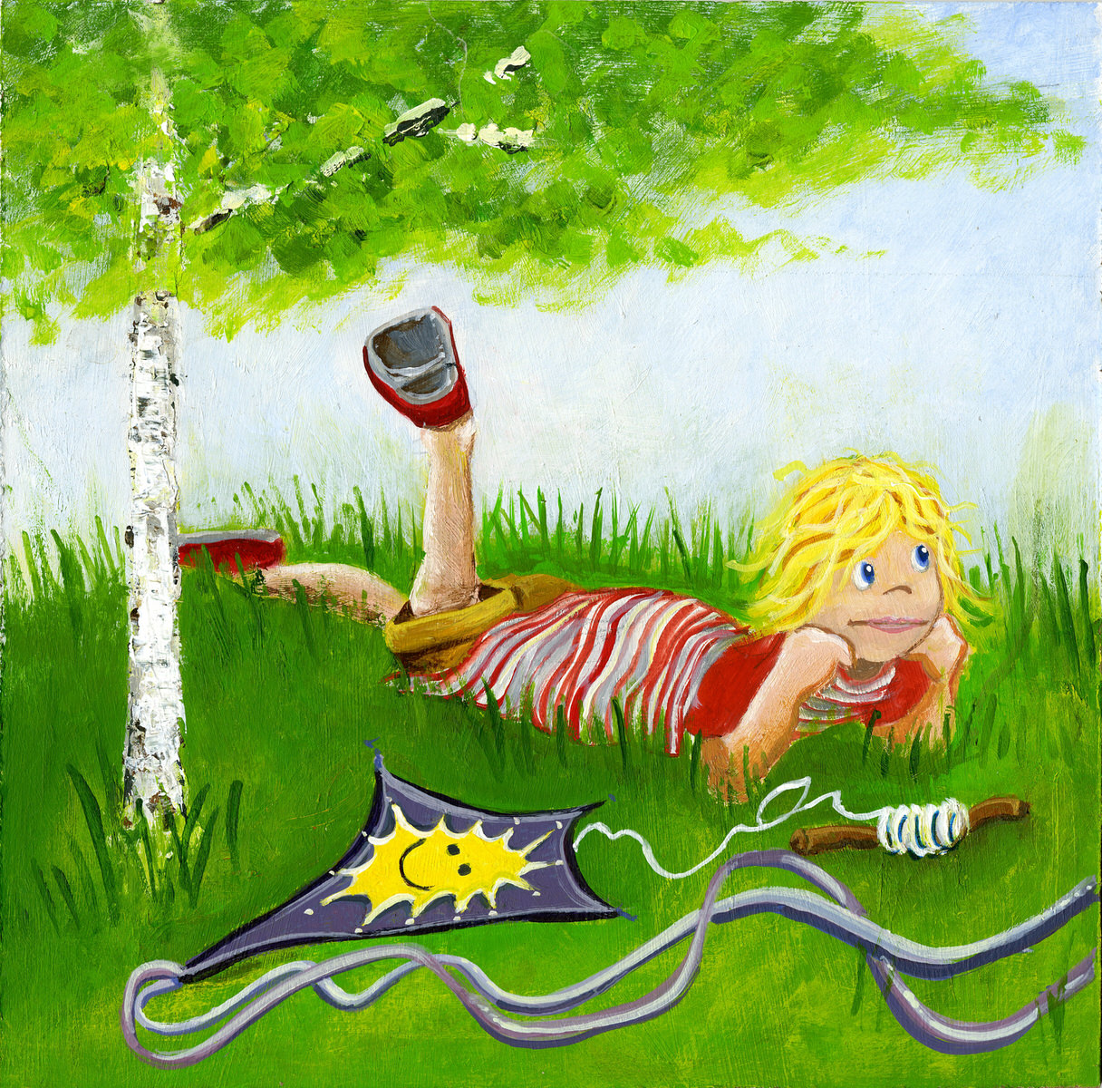 Child laying on the grass from an illustration of the book A Trip Around the Pond
