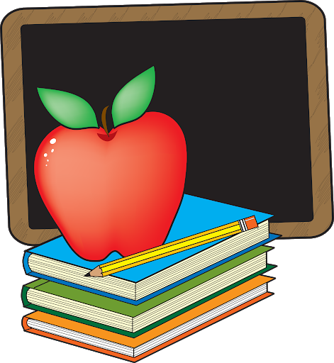 apple atop books behind a chalkboard for school